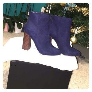 Gorgeous Faux Suede Navy Ankle Boots